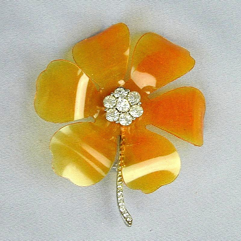 Vintage  Celluloid Plastic & Rhinestone Flower Pin c1940s