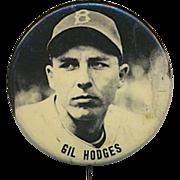 Original 1950s Baseball Stadium Pin GIL HODGES - Brooklyn Dodgers