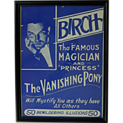 Framed 1930s Magic Show Adv. Poster - BIRCH Famous Magician