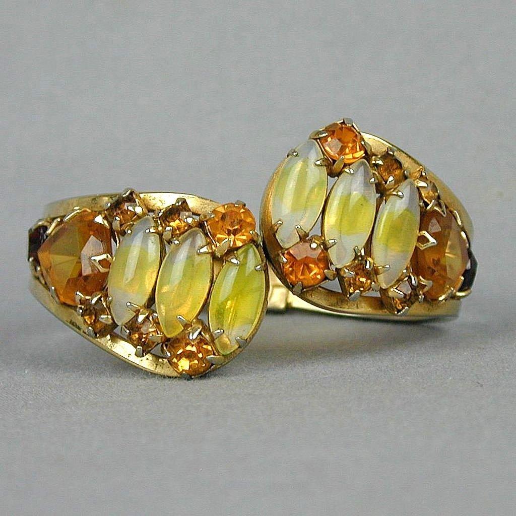 Jeweled Hinge Clamper Bracelet Citrine Amber Colored Rhinestones