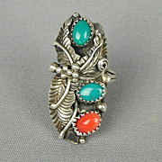 J.P. Native American Sterling Silver Ring - Coral Turquoise