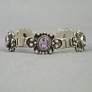 Vintage Sterling Silver Amethyst Bracelet