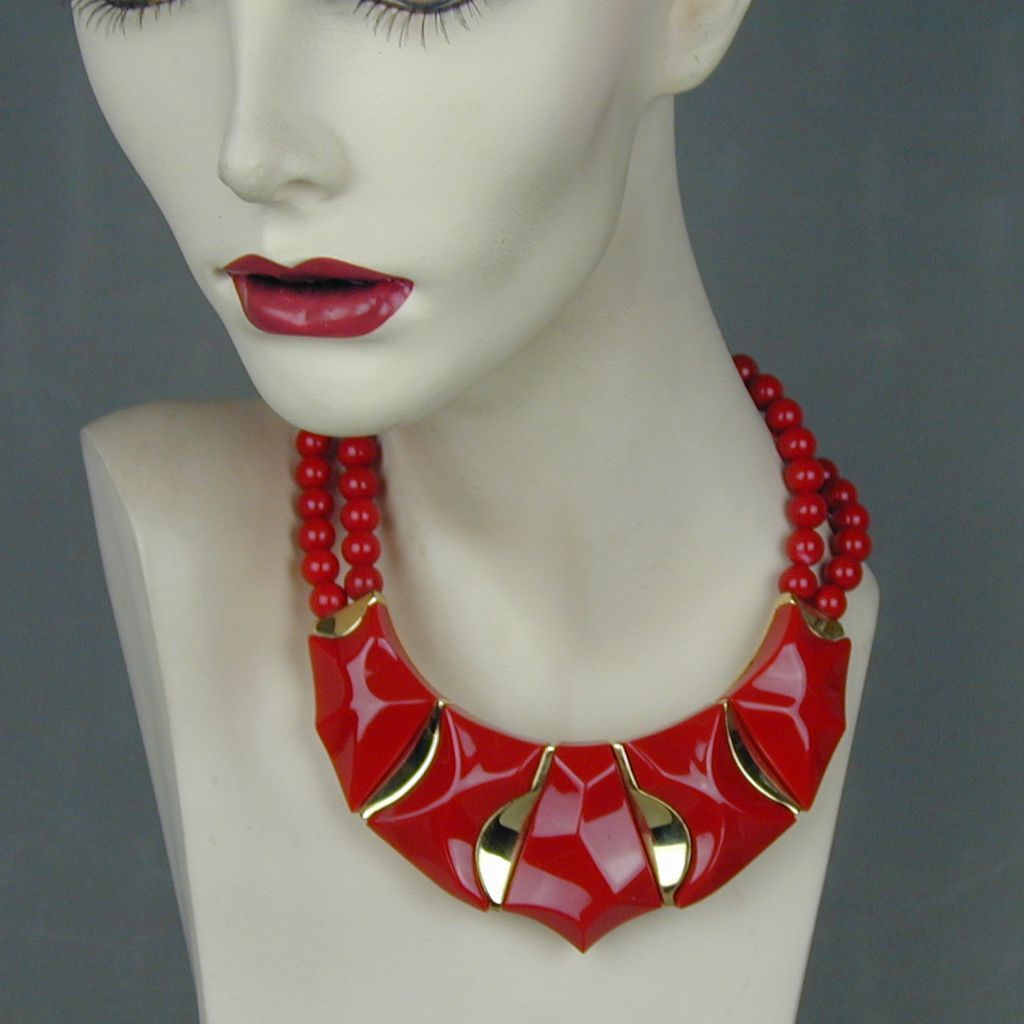 Modernist Big Red Lucite Statement Necklace Wide Collar