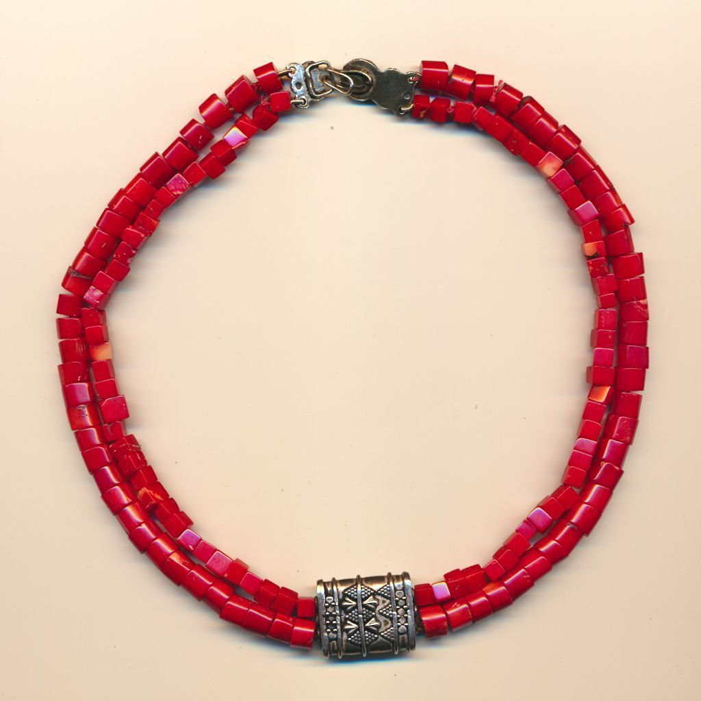 Bold Red Coral Bead Necklace w/ Sterling Silver Pendant