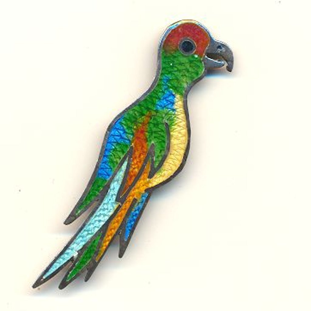Sterling Guilloche Enamel Mexican Parrot Pin Signed J-F Silver