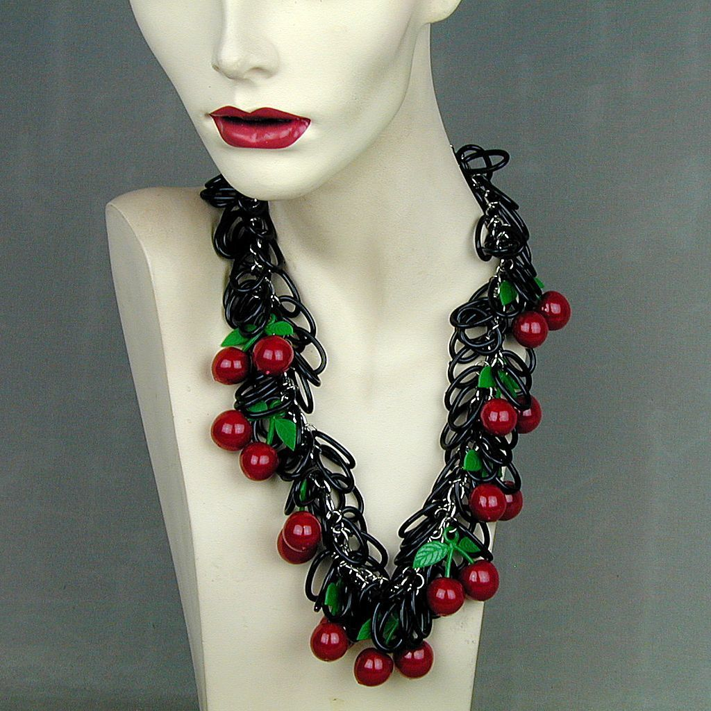 Vintage Big Mega CHERRIES Plastic Necklace Cherry