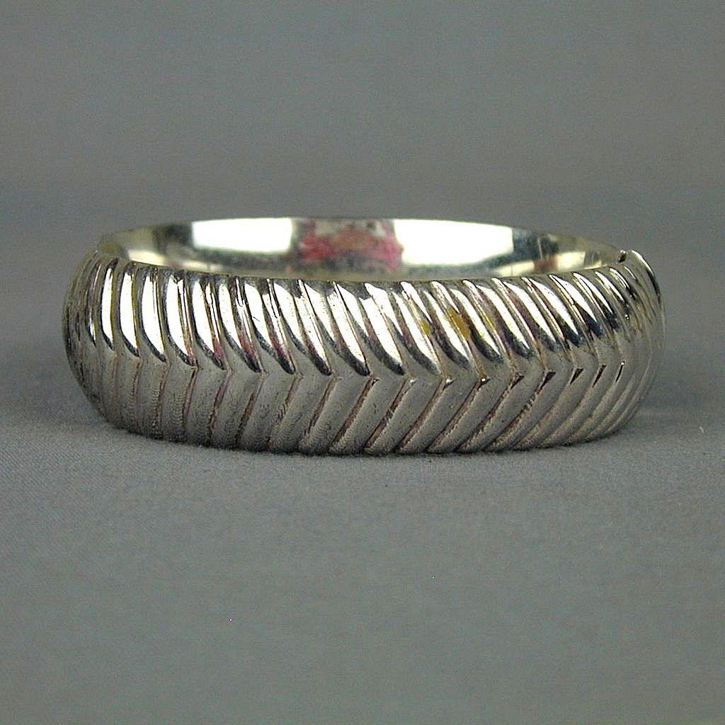 Vintage 925 Sterling Silver Hinge Bracelet - Modernist Design