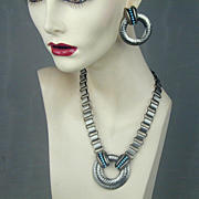 Modernist Hammered Metal Necklace & Earrings Set