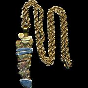 Modernist Mixed Metals Pendant Necklace Brutalist Art