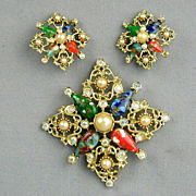 Vintage Rhinestone Sarah Cov Pin / Pendant - Earrings Set