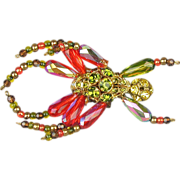 Vintage Austrian Crystal Beaded Bug Insect Pin Brooch Jointed