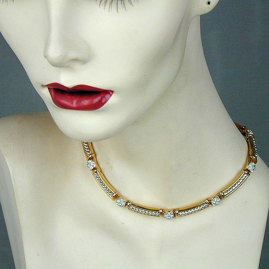 Vintage Swarovski Crystal Rhinestone Gold-Plate Necklace