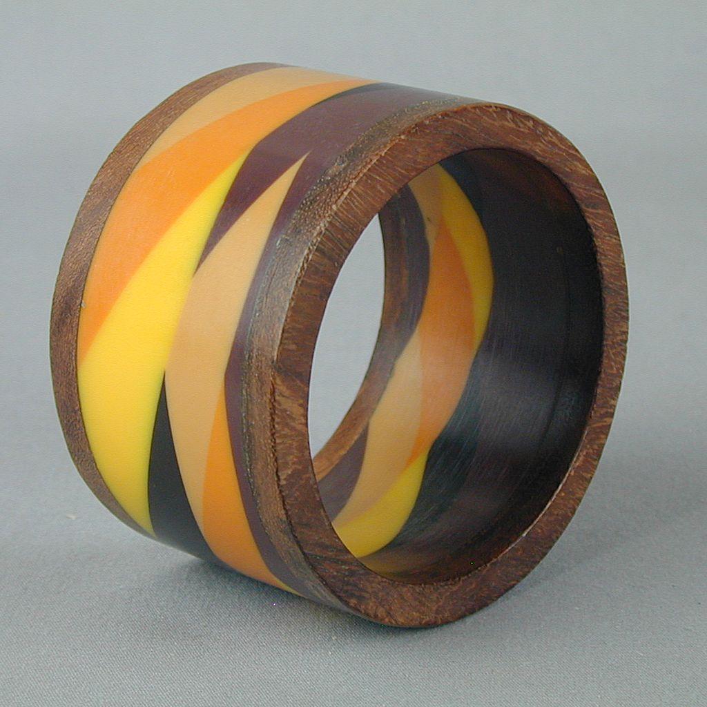Vintage 2-Inch Wide Lucite & Teak Wood Bracelet - Multi-Color