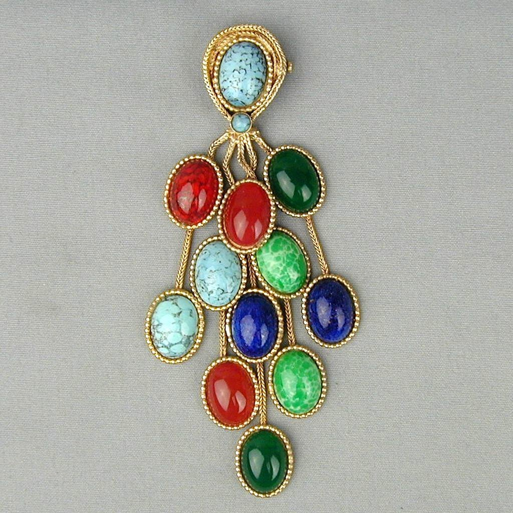 Vintage Pin of Cascading Colored Glass Stone Dangles