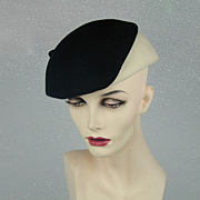 Vintage 1950s Frank Olive Black-on-White Sassy Hat