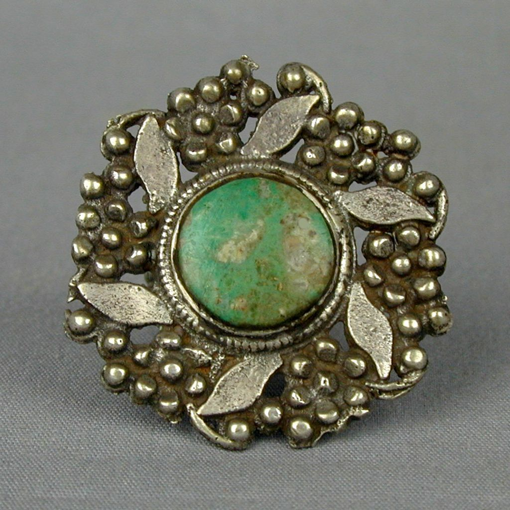 Huge Old Tribal Silver Ring w/ Turquoise South Asian