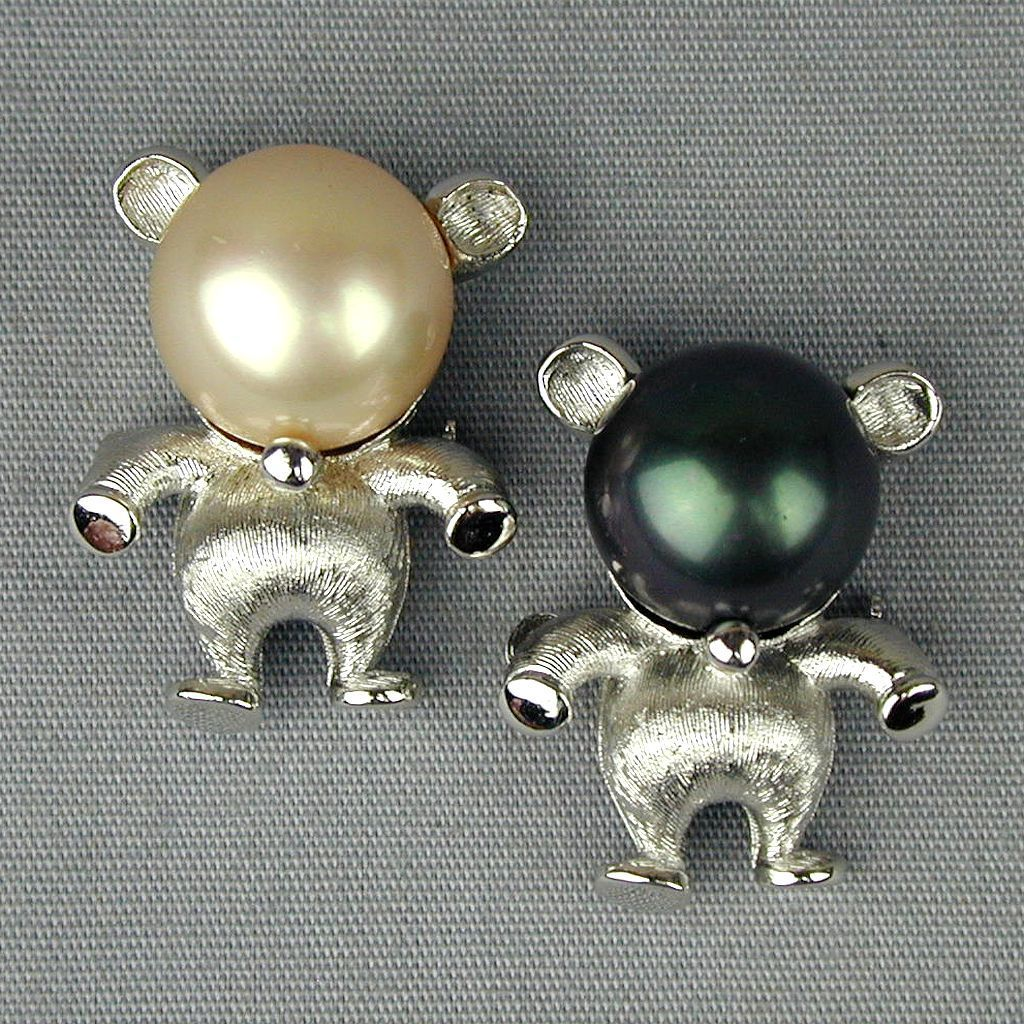 Pair Vintage MAJORICA Pearl Head People Pins