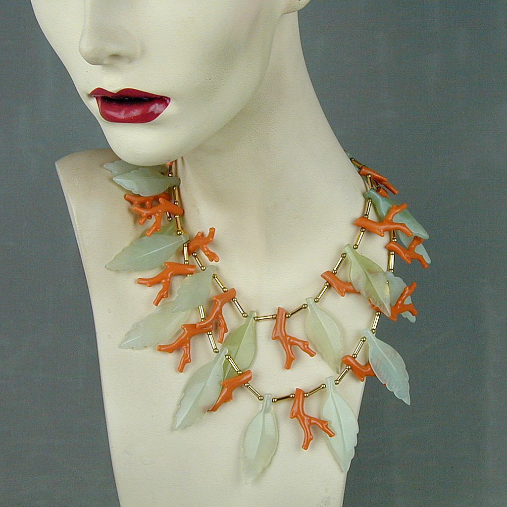 Vintage Kenneth Lane Big Faux Coral Glass Leaves Necklace