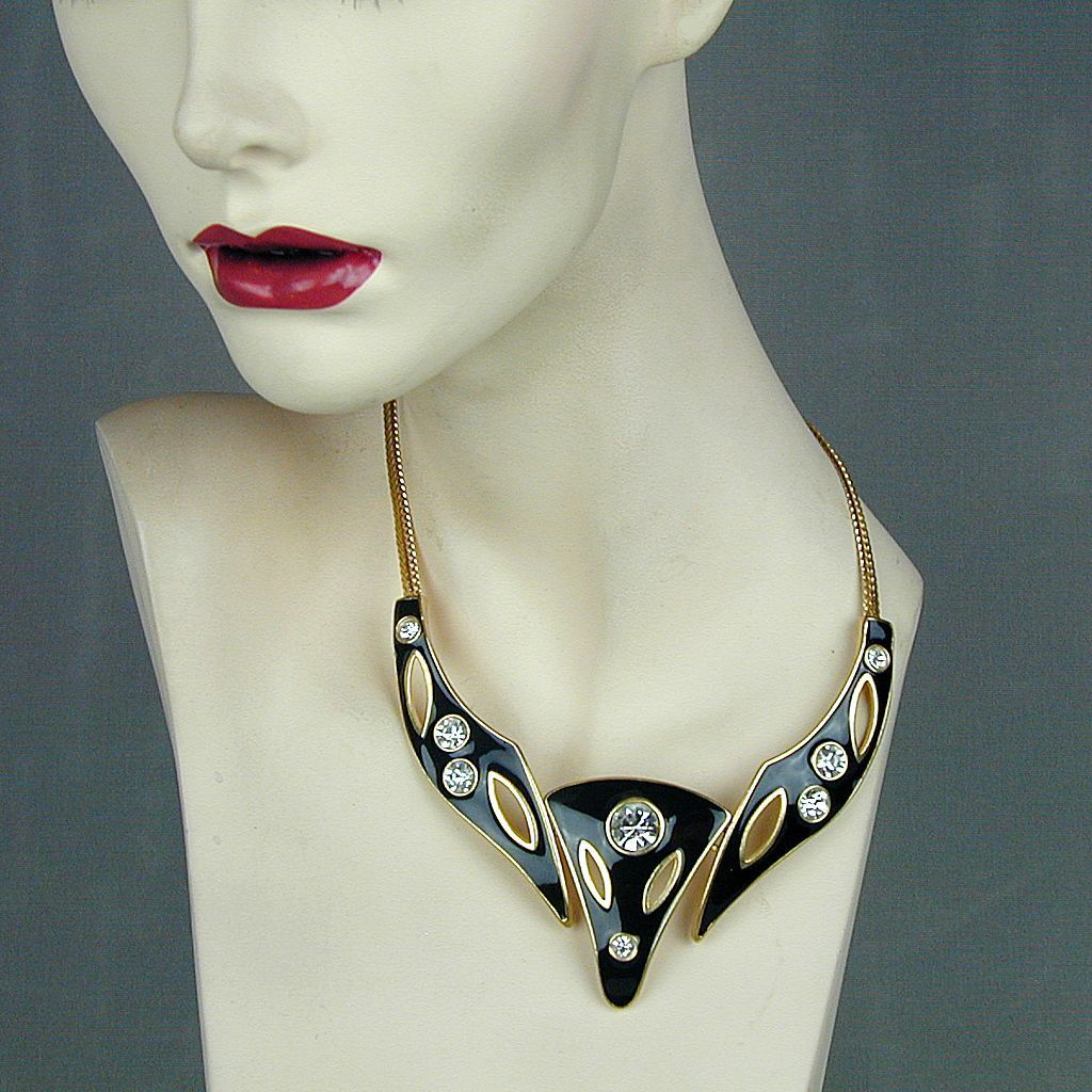 Black Enamel Modernist Necklace w/ Big Rhinestones