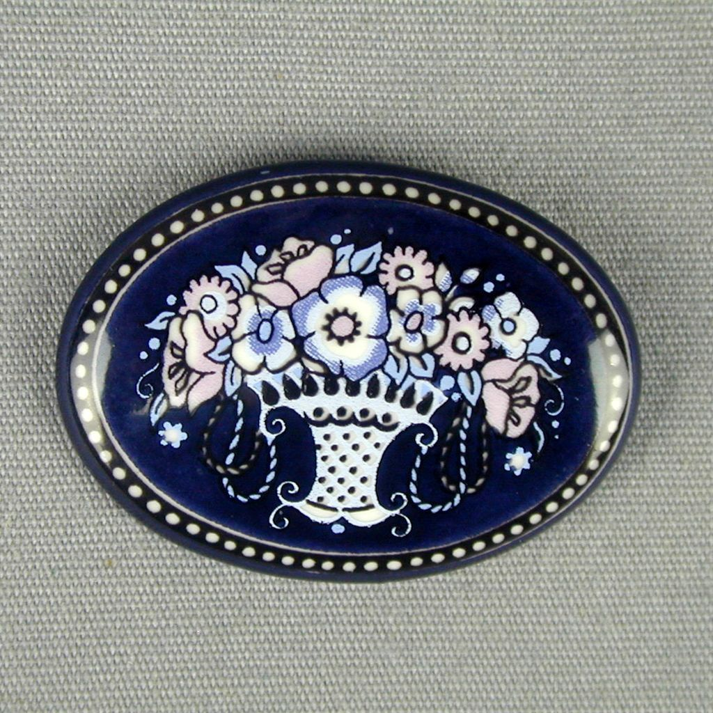 Vintage Austrian Enamel Pin by Michaela Frey - Flower Basket