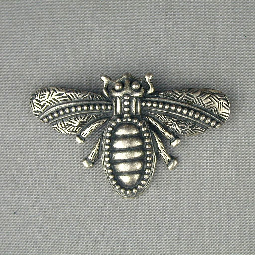 Handsome Old Sterling Silver Flying Bug Insect Pin