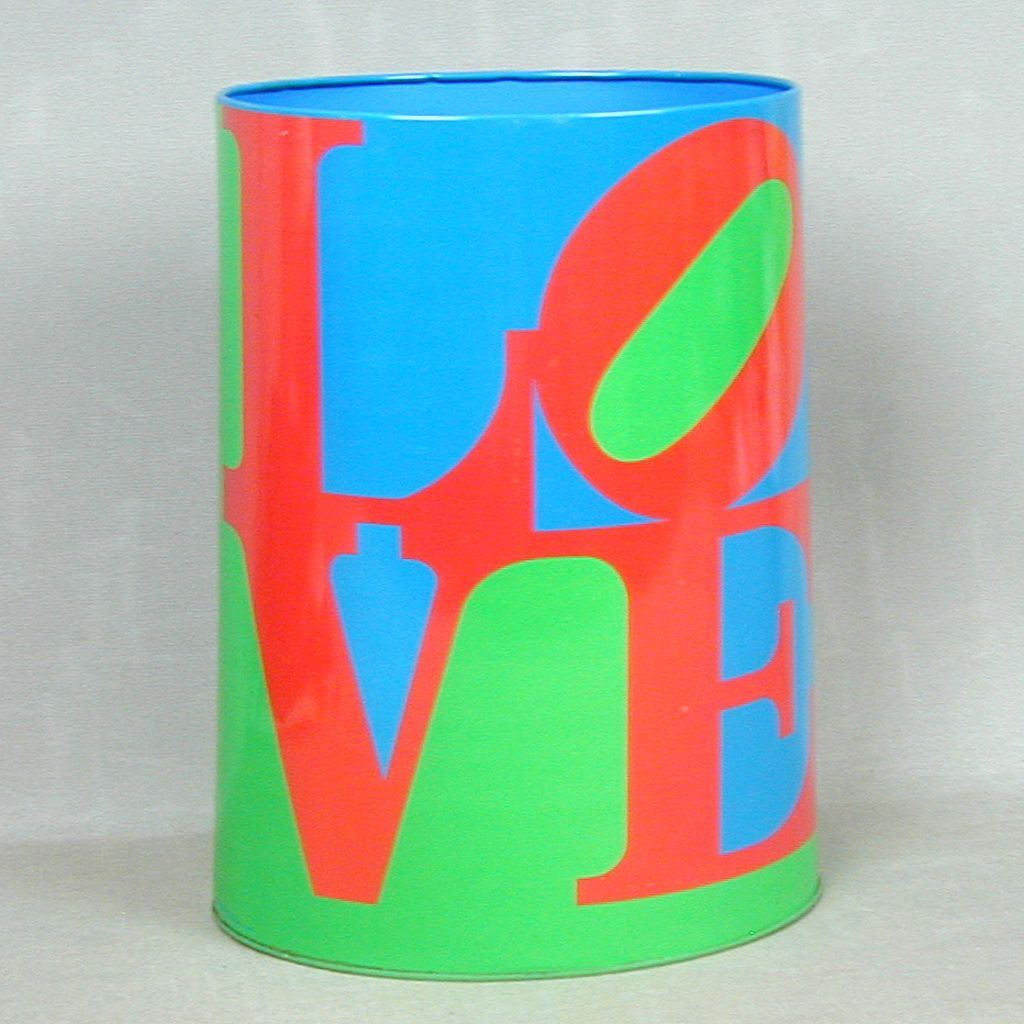 Rare 1970s LOVE Tin Litho Waste Basket Can Robert Indiana Art