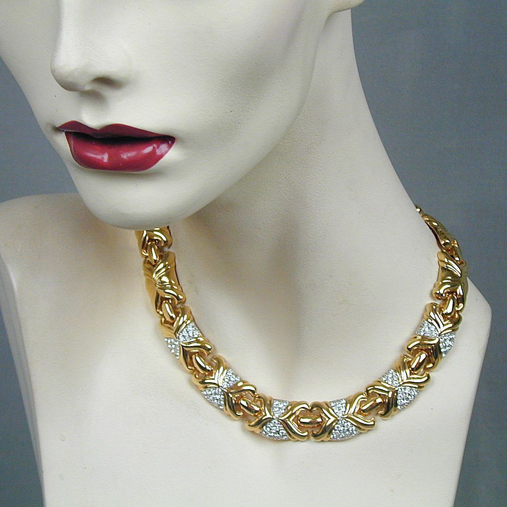 Signed PUCCINI Faux Gold w/ Crystal Rhinestones Necklace