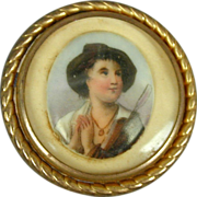 Old c1920 Hand-Painted Portrait on Porcelain Pin Brooch