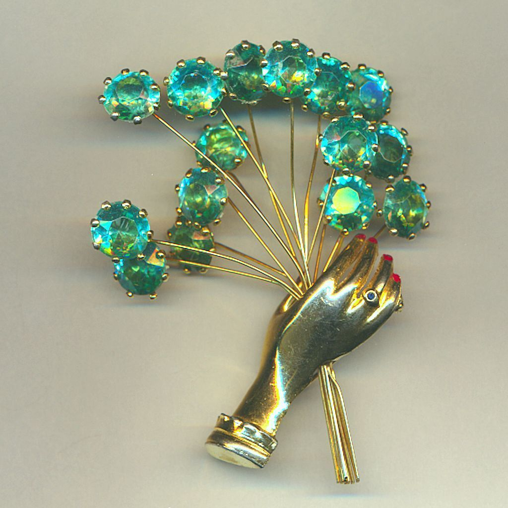 CORO Figural HAND Pin w/ Turquoise Rhinestone Flowers