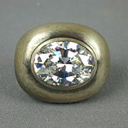 1980s Sterling Silver Lollapalooza Crystal Rhinestone Ring