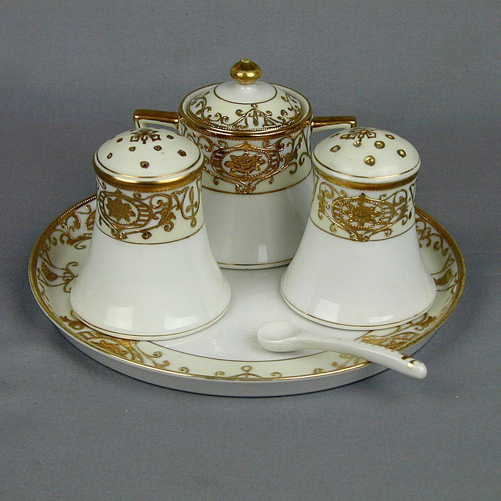 Noritake Condiment Set Gilded Christmas Balls Salt Pepper Dish Jar