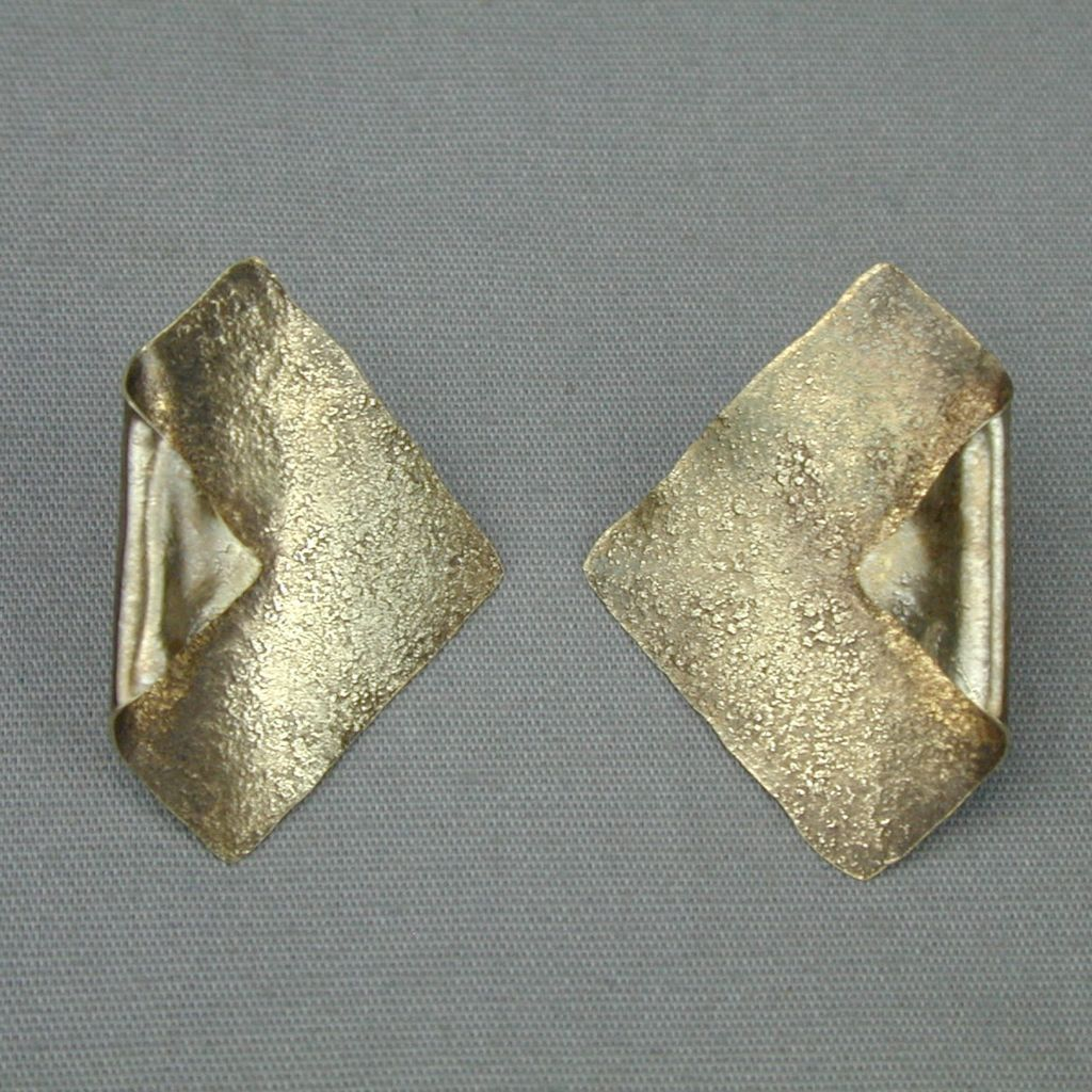 Modernist Ken Loeber Sterling Silver 24K Earrings 1984 Signed