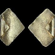 Modernist Ken Loeber Sterling Silver 24K Earrings 1984 Signed