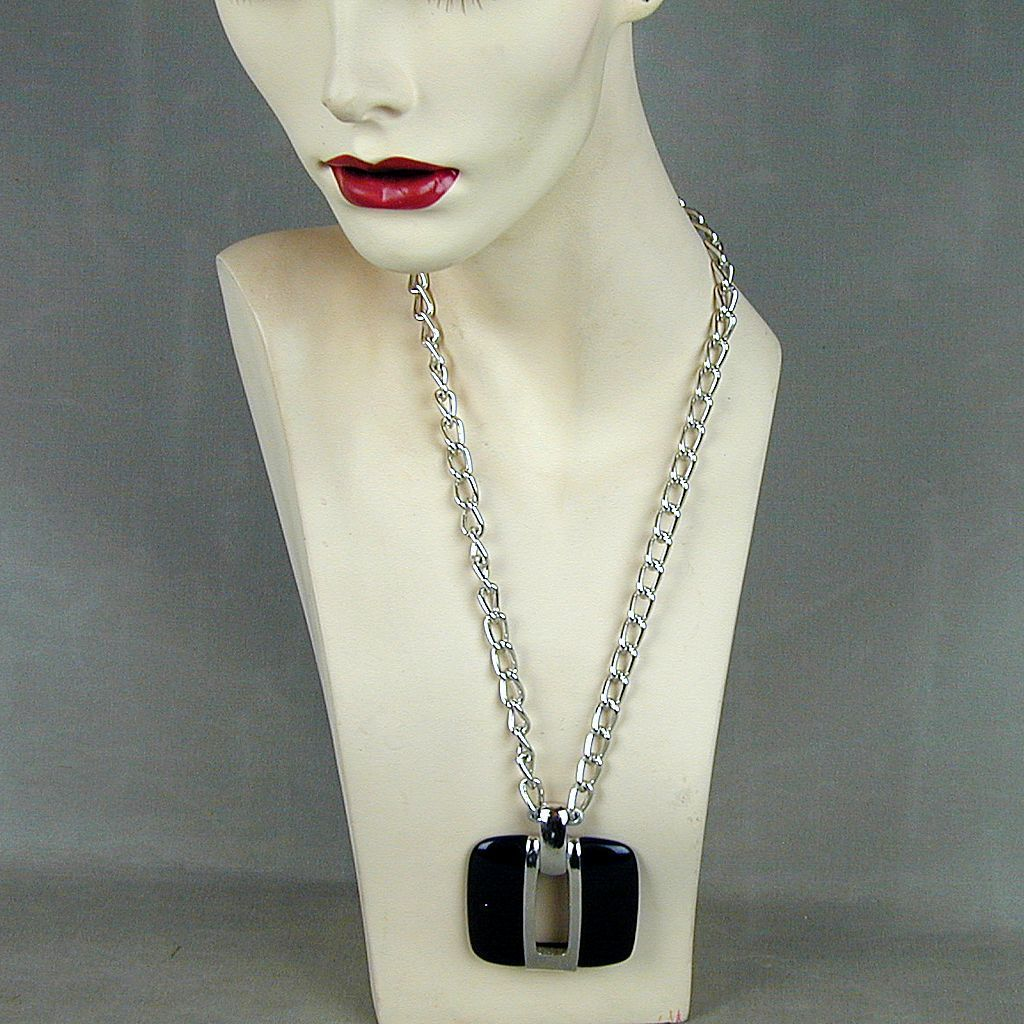 Modernist LANVIN PARIS Lucite Chromed Metal Pendant Necklace