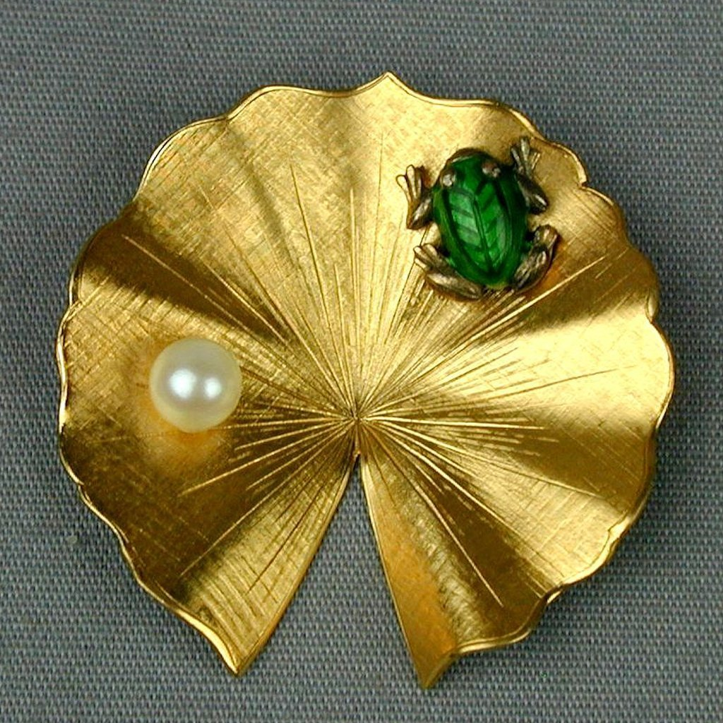 Enamel Frog on Signed Gold-Filled Lily Pad Pin - Real Pearl Too
