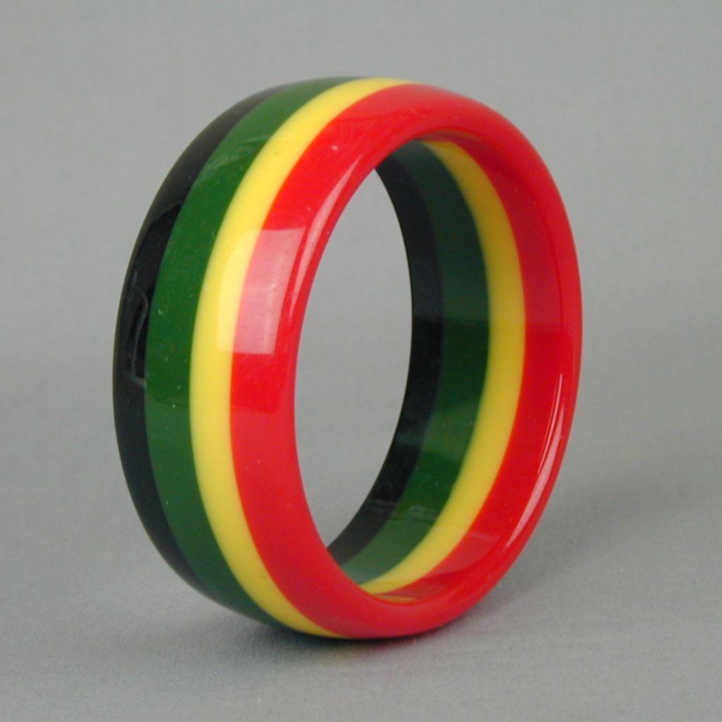 Vintage 4-Color Striped Lucite Bangle Bracelet