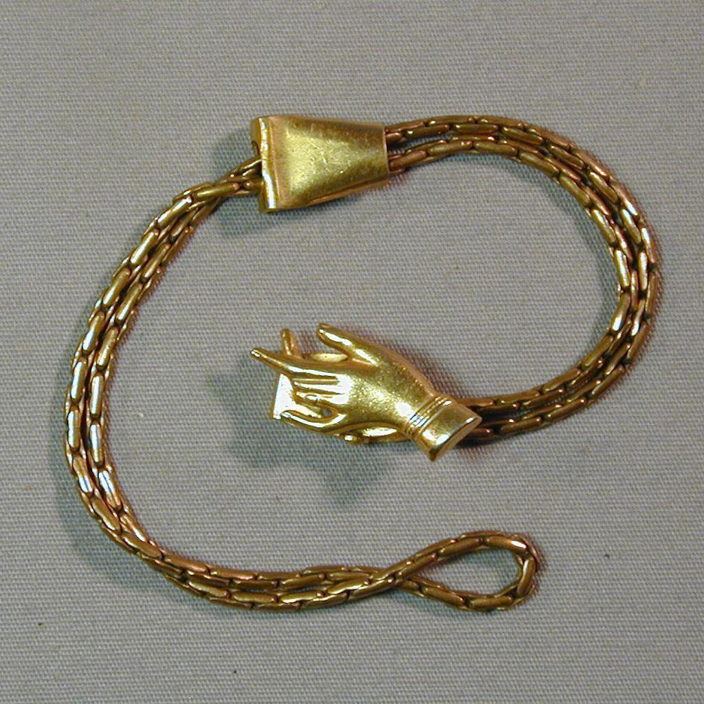 Unusual Old Goldtone HAND Clip Slide Bracelet c1930s