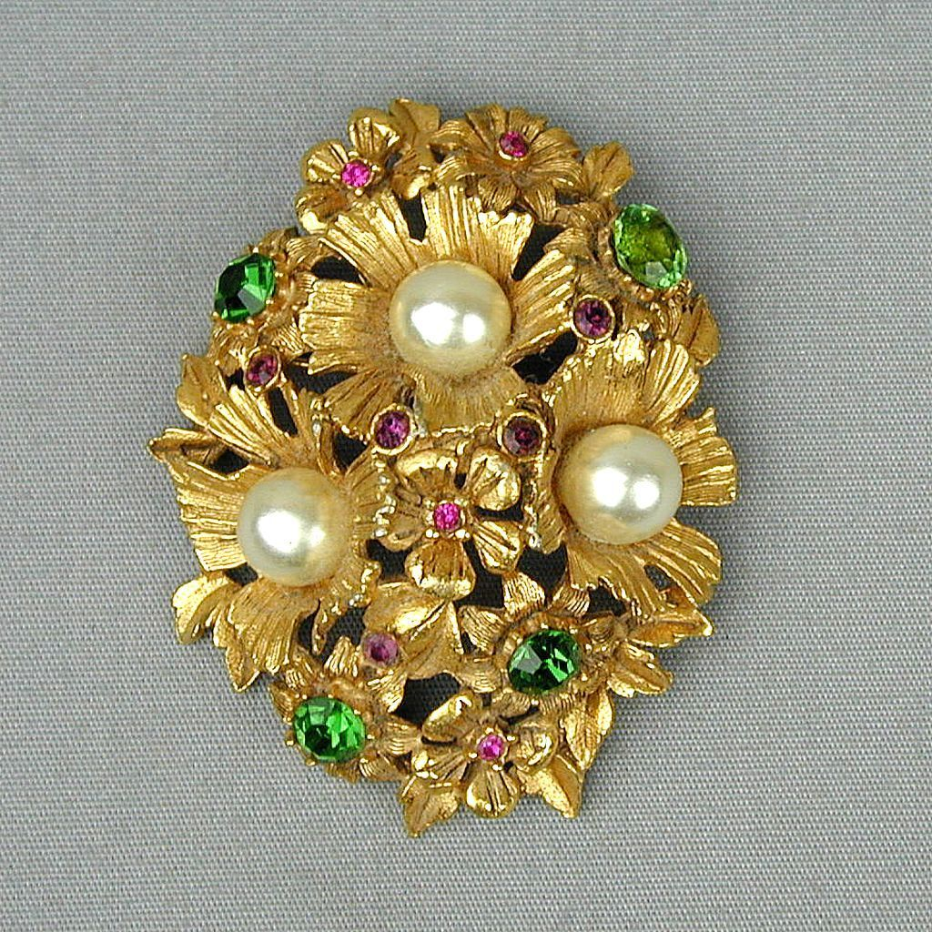 Vintage Florenza Big Jeweled Pin Brooch - Floral Beauty