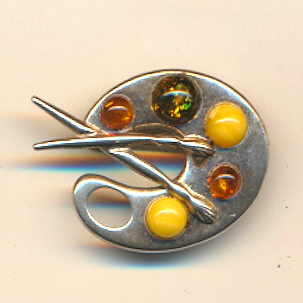 Vintage Baltic Amber Artist Palette Pin Brooch Sterling Silver
