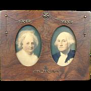 Victorian c1889 George Martha Washington Framed Picture - Old Frame