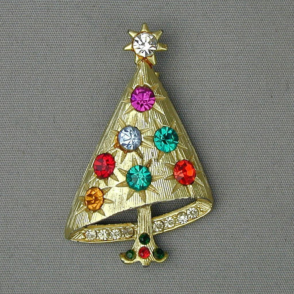 Vintage Rhinestone Drunken Christmas Tree Pin Book Piece