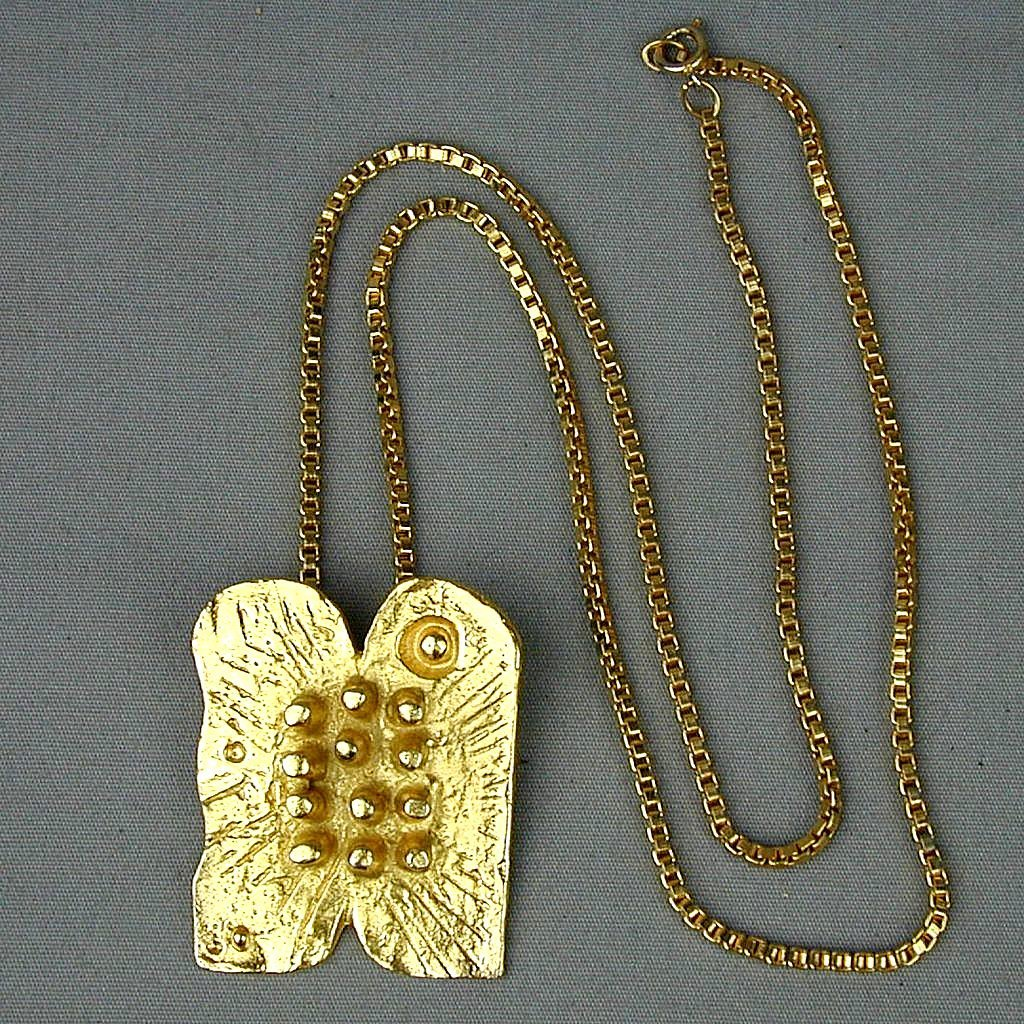 Signed Modernist Pin Pendant Ten Commandments Box Chain