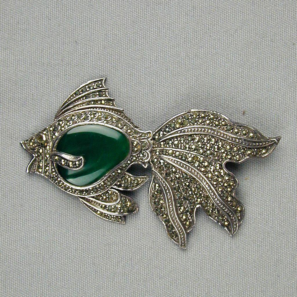 Art Deco Sterling Marcasite Fish Pin w/ Chrysoprase