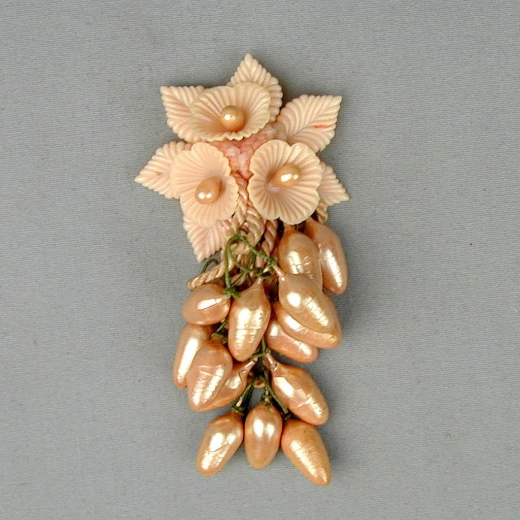 c1940 Pink Celluloid Plastic Fruit Dangles Pin