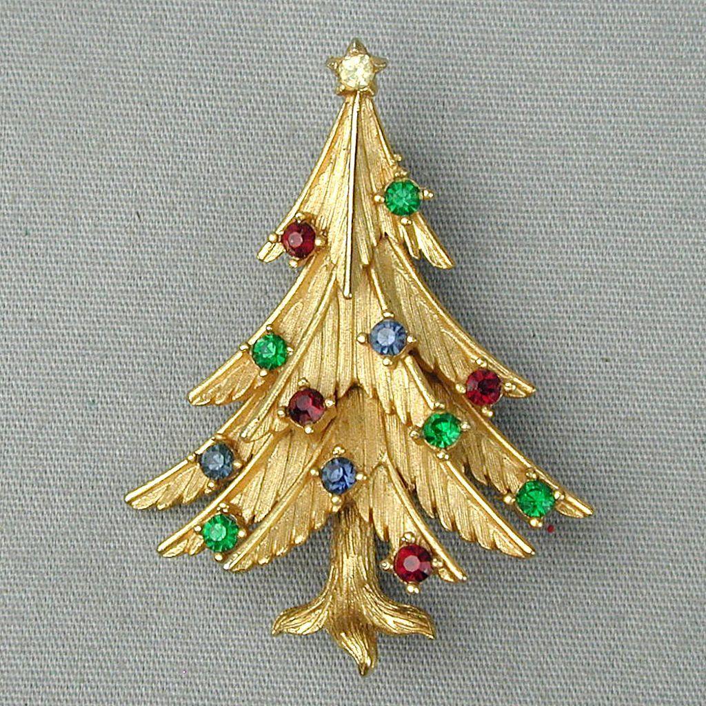 Crown Trifari Merry Rhinestone Christmas Tree Pin