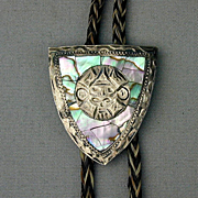 Vintage Signed Sterling Silver Mexican Bolo Tie Inlaid