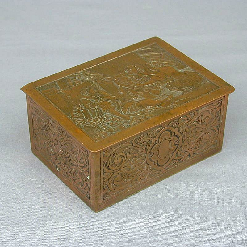 Antique 19th Century French Etched Metal Box Fragonard