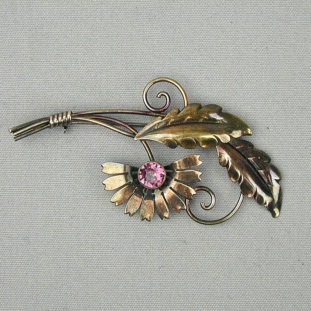 Vintage VAN DELL Gold-Filled on Sterling Flower Pin Brooch