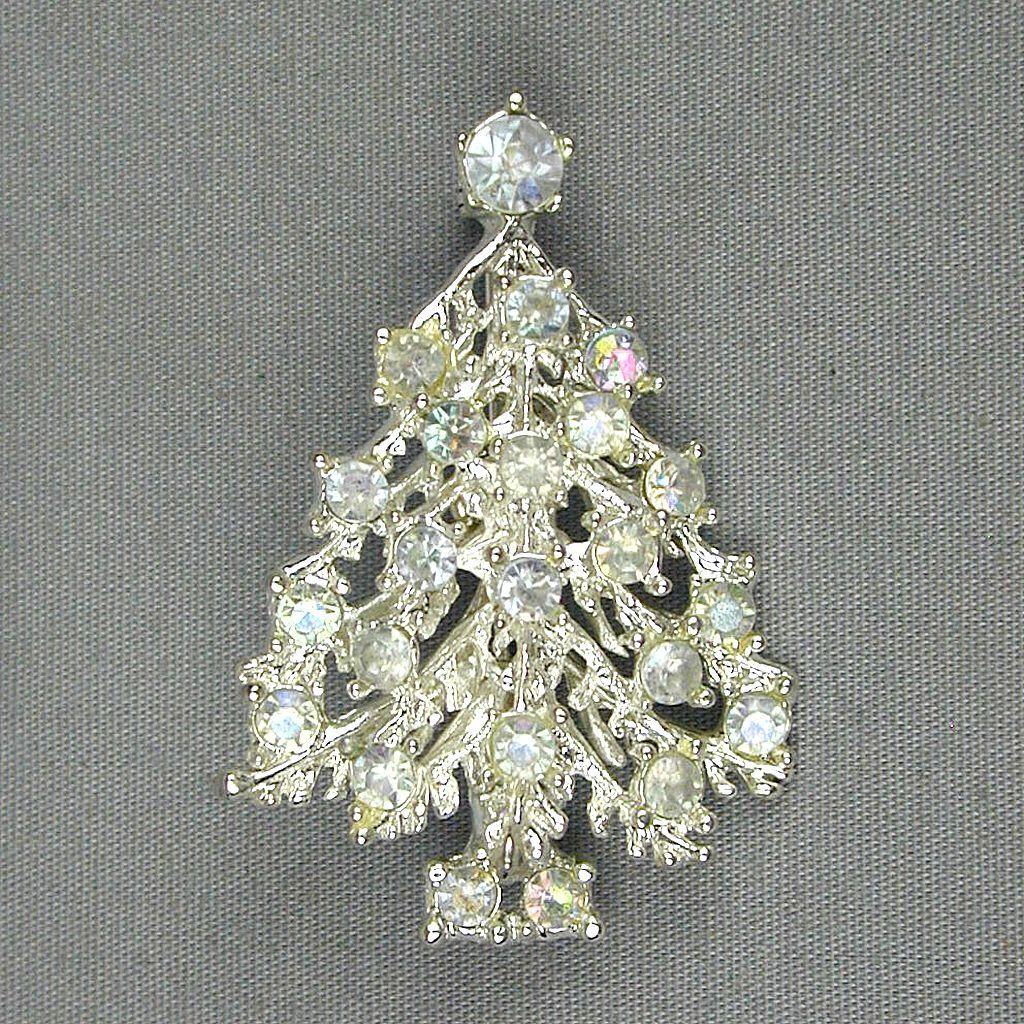 Vintage White Christmas Tree Pin w/ Aurora Borealis Crystal Rhinestones