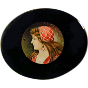 Old c1920s Czech Glass Pin w/ Pretty Girl Picture